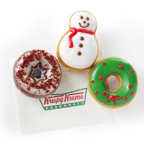 Krispy Kreme Snowman, Holiday Sprinkles, Red Velvet Cake and Wreath Doughnuts are perfect for sharing, celebrating and creating joyful memories as you deck the halls with family and friends. Available now through December 28, 2014 at participating Krispy Kreme US and Canadian locations. (Photo: Business Wire)