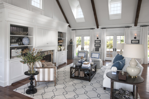 The HGTV Dream Home great room is the open, spacious heart of the home with high, vaulted ceilings accented by reclaimed wooden beams. The room is decorated with pops of blue that serve as subtle reminders of the ocean nearby. (Photo: Business Wire)