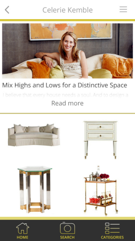 Famed designer Celerie Kemble searches for distinctive décor with the free LikeThat Décor app from Superfish. (Graphic: Business Wire)
