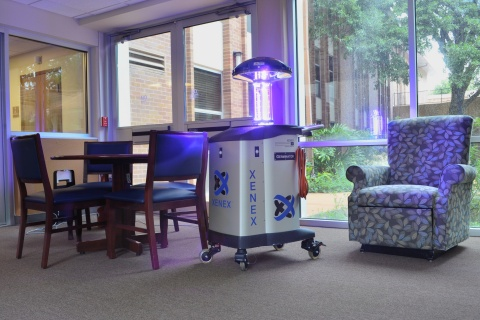 """Morningside Ministries is the first Skilled Nursing Facility in Texas to use a Xenex germ-zapping robot to protect its residents and staff. Named """"Germinator,"""" the robot will destroy hard-to-kill germs in hard-to-clean places such as Clostridium difficile (C. diff) and MRSA. (Photo: Business Wire)"""
