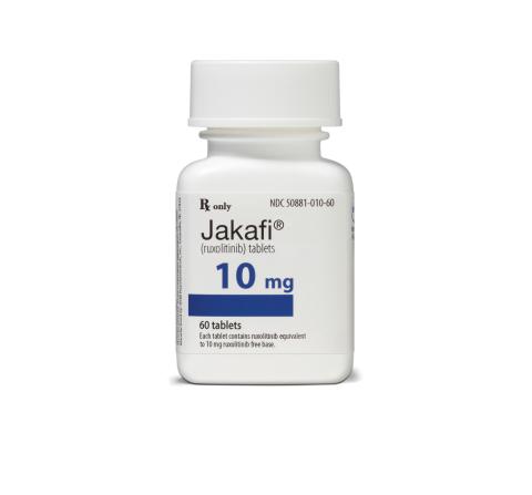 A bottle of Jakafi® (ruxolitinib) 10mg tablets (Photo: Business Wire)