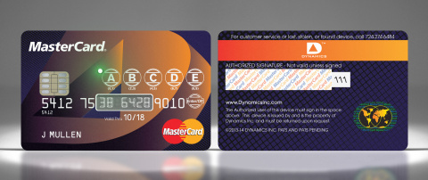 Security: Interactive Payment Cards from MasterCard and Dynamics, Inc. For enhanced security, Dynamics interactive payment cards can include a display and keypad. When a consumer enters the correct unlocking code into the buttons of the card, the payment card number is provided on a display (for online use) and is written to the stripe (for in-store use). (Photo: Business Wire)