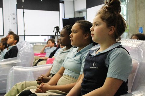 """MapQuest hosts an """"Hour of Code"""" Academy at its headquarters for hundreds of Denver Public School students, including these three: Araya Garibay, Jachelle Johnson and Erika Harris. (Photo: Business Wire)"""