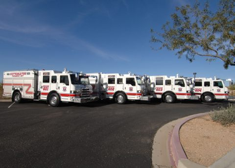Pierce has placed four Pierce(R) Impel(TM) pumpers on duty with the Scottsdale Fire Department (SFD) in Scottsdale, Arizona, and two more will be delivered in April 2015. All six utilize the Pierce Ultimate Configuration (PUC) pump system. (Photo: Business Wire)