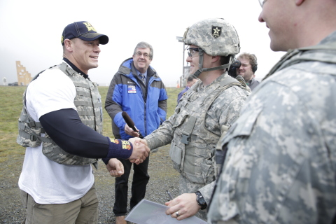 WWE Superstar John Cena thanking servicemen and women (Photo: Business Wire)