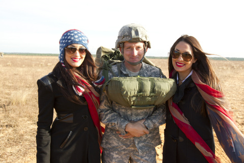 WWE Divas The Bella Twins spending time with servicemen and women during Tribute to the Troops (Photo: Business Wire)