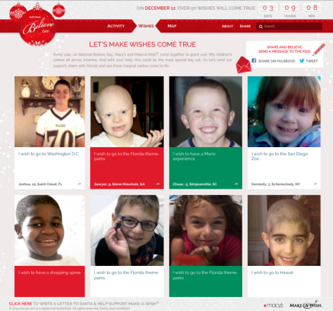 """Visit the new, interactive Believe Together online hub to see Macy's team up with Make-A-Wish® to grant """"Wishes Across America"""""""