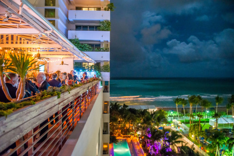 Jet Edge International VIPs and guests mix and mingle oceanfront at Soho Beach House during the Art Basel Miami Beach event. (Photo: Business Wire)