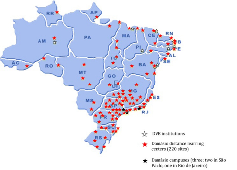 Chart 1: Map of DeVry Brasil and Damasio locations (Graphic: Business Wire)