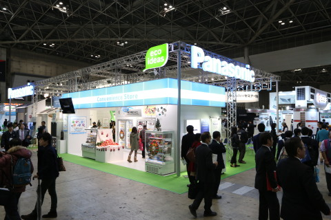 Panasonic showcased solutions for convenience stores at the booth of the Eco-Products 2014. (Photo:  ...