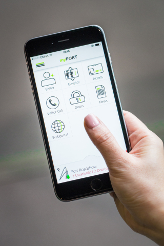 Schindler's new myPORT smartphone app makes it fast, easy and secure for tenants to open doors, pre-program elevators and move through a building.  (Photo: Business Wire)