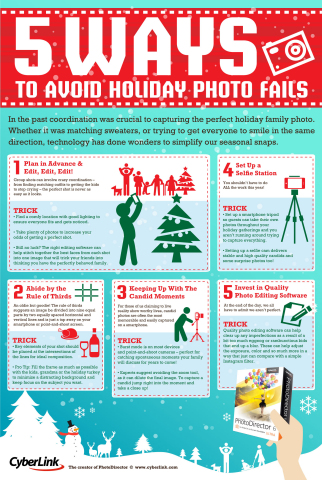5 Ways to Avoid Holiday Photo Fails, the set of tips is aimed at helping beginner and intermediate photographers steer clear of shooting missteps that could spoil an otherwise perfect photo moment. (Graphic: Business Wire)