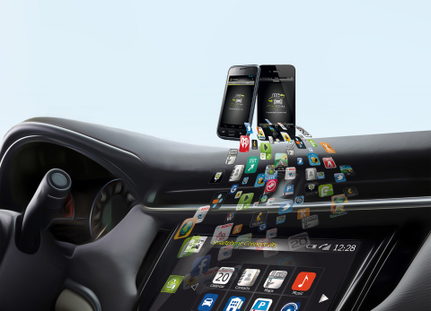 mySPIN is the smartphone integration solution that creates a perfect device-vehicle link and ensures safe and reliable in-car use via the vehicle display. It allows users to continue using their iPhone or Android smartphone apps in the way they are accustomed to and without compromising safety. (Graphic: Business Wire)
