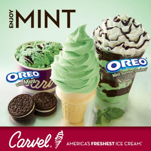 Carvel's Mint soft ice cream, OREO(R) with mint ice cream and OREO(R) Sundae Dasher(TM). (Photo: Business Wire)