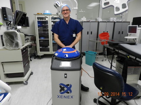 St. Cloud Surgical Center is the first ambulatory surgery center (ASC) in the U.S. and the first healthcare facility in St. Cloud to utilize a Xenex germ-zapping robot to enhance patient safety by destroying the deadly pathogens that can cause healthcare associated infections (HAI). St. Cloud Surgical Center is using Xenex's full-spectrum UV disinfection system to disinfect its surgical suites daily. (Photo: Business Wire)