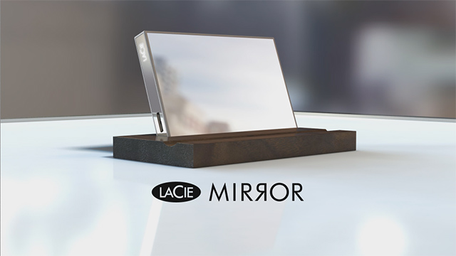 A reflective hard drive designed by Pauline Deltour for LaCie using Corning Gorilla Glass.
