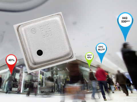 Expanding Bosch Sensortec's existing family of environmental sensors, the BME680 integrates a gas sensor with best-in-class air pressure, humidity and ambient air temperature sensing functions within a single 3.0 x 3.0 mm2 footprint package. (Photo: Business Wire)