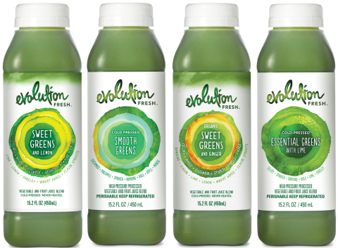 Evolution Fresh Offers Four Cold-Pressed Green Juices Packed with More Than a Pound of Vegetables (P