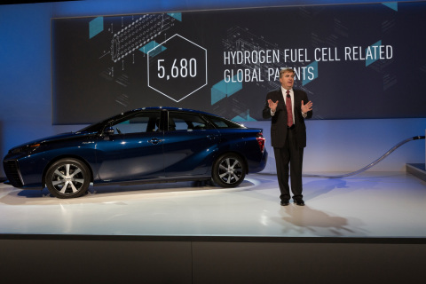 Bob Carter, senior vice president of automotive operations for Toyota Motor Sales, U.S.A., announces access to Toyota's fuel cell patents at the International CES in Las Vegas on Jan. 5, 2015. (Photo: Business Wire)