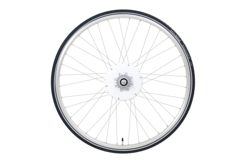 The sleek, Italian-designed FlyKly Smart Wheel with its all-in-one motor weighs only six pounds and is seven inches in diameter. (Photo: Business Wire)