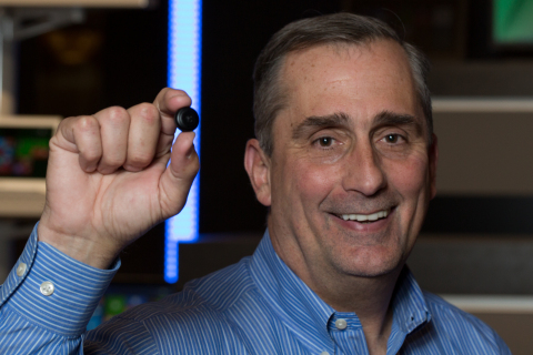 Intel's Brian Krzanich holds the Intel® Curie™ button-sized prototype. (Photo: Business Wire)