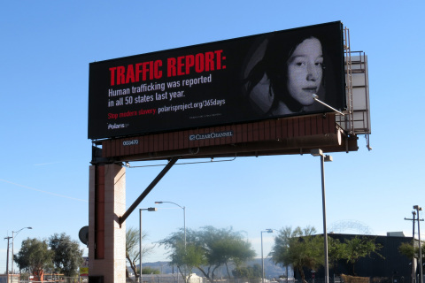 Clear Channel Outdoor, Polaris, & McCain Institute anti-human trafficking campaign on a billboard in Phoenix (Photo: Business Wire)