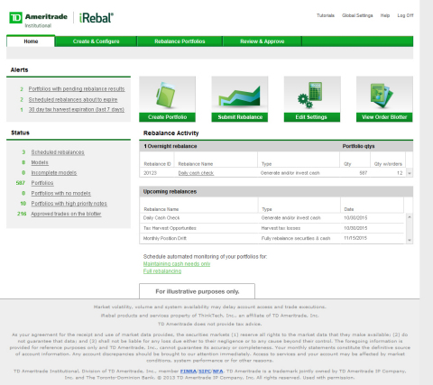 An illustrative version of the iRebal home page. (Credit: TD Ameritrade Institutional)