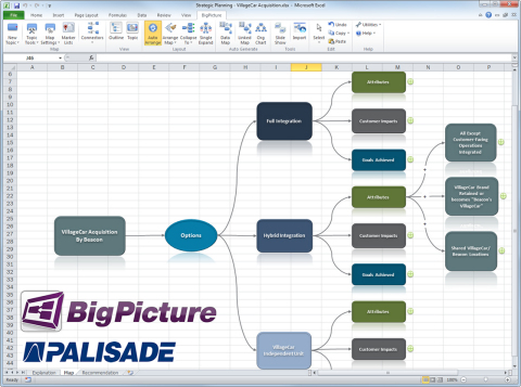 Palisade's Big Picture visualizes large data sets into a visual, Excel-based environment. (Graphic: Business Wire)