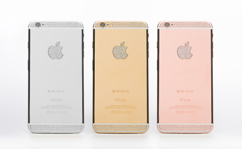 Lux iPhone 6 Plus Diamond Select with 12.8 carats of diamonds in 950 platinum, 24k yellow gold, and 24k pink gold (left to right). (Photo: Business Wire)