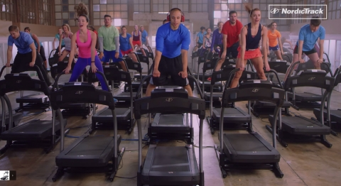 The World's Largest Treadmill Dance-Complete with 45 treadmills, professional dancers, and YouTube celebrities. See it at the iFit booth #74321 in the Sands Expo Center. (Photo: Business Wire)