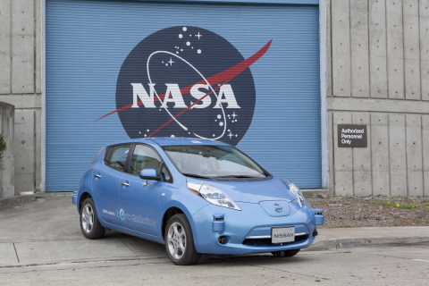 The all-electric Nissan Leaf fitted with autonomous drive equipment allowed to park at NASA's Ames Research Center. (Photo: Business Wire)