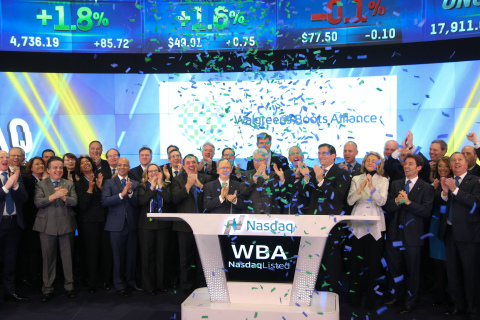 Walgreens Boots Alliance leadership ring the opening bell at Nasdaq on 9 January 2015. (C) 2015, The NASDAQ OMX Group, Inc.