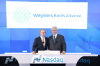 Executive Chairman Jim Skinner (left) and Executive Vice Chairman Stefano Pessina celebrate the first week of Walgreens Boots Alliance as a new public company at Nasdaq's opening bell ceremony on 9 January 2015. (C) 2015, The NASDAQ OMX Group, Inc.