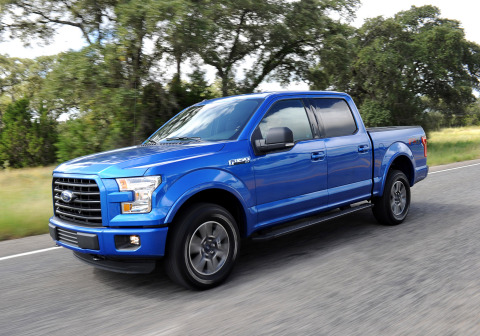 Regardless of model configuration or engine choice, every F-150 customer benefits from up to 700 pounds of weight savings with its high-strength steel frame and high-strength, military-grade aluminum alloy body. The 2015 Ford F-150 also introduces an all-new available 2.7-liter EcoBoost engine with Auto-Start Stop and 11 class exclusive smart features that include available remote release tailgate with the click of the key fob, LED headlamps, 360 degree camera system and more. (Photo: Business Wire)