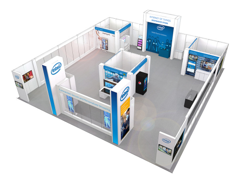 Intel booth showcasing new retail solutions at NRF 2015. (Graphic: Business Wire)