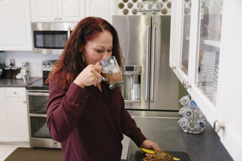Coffee-lover Christine Aristakian worked closely with GE to test and develop the new refrigerator and brewing system from her home in Miami. (Photo: GE)