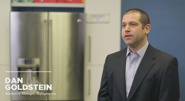 Dan Goldstein, refrigeration marketing manager for GE Appliances, discusses the new GE Café™ Series refrigerator with Keurig® K-Cup® brewing system.