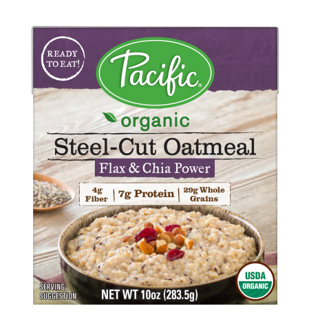 Pacific Foods Organic Steel-Cut Oatmeal in Flax & Chia (Photo: Business Wire)