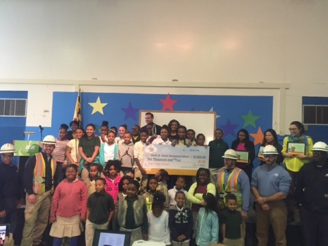 Today, at a surprise all-school assembly with more than 250 students and teachers, BGE President and Chief Operating Officer Stephen J. Woerner presented The BGE Wires Down Video Challenge $10,000 grand prize to Sarah M. Roach Elementary School in Baltimore City. The school plans to use the $10,000 school enrichment award to purchase new laptop computers to start a technology club. In total, BGE presented $30,000 to eleven schools as part of the third annual BGE Wires Down Video Challenge. (Photo: Business Wire)