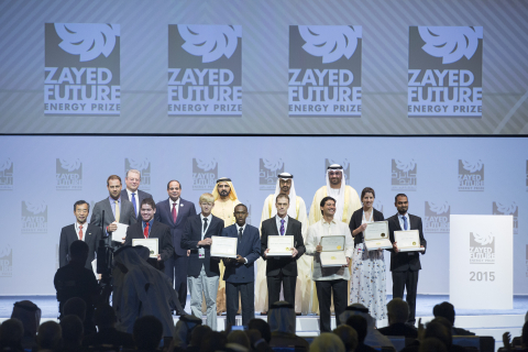 (R-L, back row), HE Dr Sultan Ahmed Al Jaber, HH General Sheikh Mohammed bin Zayed Al Nahyan Crown P ...