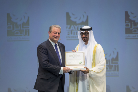 HH General Sheikh Mohammed bin Zayed Al Nahyan Crown Prince of Abu Dhabi Deputy Supreme Commander of the UAE Armed Forces (R), presents the Zayed Future Energy Prize Lifetime Achievement award to Former Vice President of the United States Al Gore (L) during the opening ceremony of the World Future Energy Summit, part of Abu Dhabi Sustainability Week at the Abu Dhabi National Exhibition Centre (ADNEC) (Photo: Business Wire)