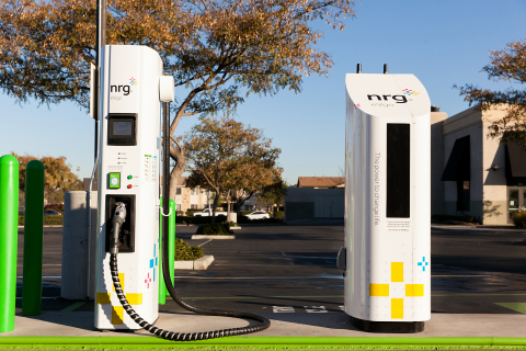 A NRG eVgo Freedom Station includes fast chargers where EV drivers can charge their electric vehicle ...