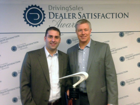 J&L Marketing President Jamil Zabaneh and Marketing Director Gary Couch accept DrivingSales Dealer Satisfaction award. (Photo: Business Wire)