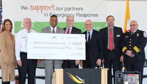 Today, BGE held a press conference at Towson University in Towson, Md., where company officials presented $310,000 in grants to nearly 50 nonprofit safety and emergency preparedness, response and recovery organizations from across central Maryland as part of the company's BGE Emergency Response and Safety Grant Program. Grant monies will be used to fund equipment, programs or services, such as thermal imaging cameras, rescue boat upgrades, disaster relief, K-9 safety search, rescue tools and heart defibrillators and training programs, among many others, that are critical to the safety of the communities BGE serves. BGE launched the Emergency Response and Safety Grant program in early 2012 and has provided nearly $1 million to 129 nonprofit organizations since the program's inception. (Photo: Business Wire)
