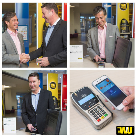 Odilon Almeida, Western Union President, Americas and European Union, and David Thompson, Executive Vice President, Global Operations and Technology and Chief Information Officer commemorate the launch of Western Union's new Apple Pay pay-in option. (Photo: Business Wire)