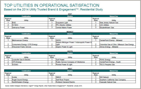 Top utilities in operational satisfaction (Graphic: Business Wire)