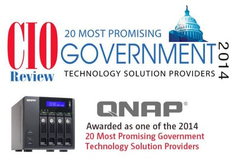 """QNAP Named to CIOReview Magazine's """"Top 20 Most Promising Government Solution Providers"""" (Graphic: Business Wire)"""