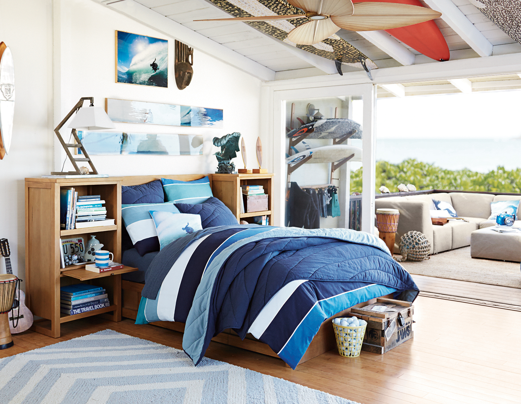 Pbteen announces eco friendly home collaboration with for Surfing bedroom designs