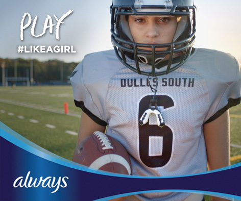 "15-year-old Karlie Harman is a perfect example of what it means to play #LikeAGirl as a quarterback and the only girl on her football team in Northern Virginia. She is acting as an Always ""LikeAGirl"" ambassador at Super Bowl XLIX. (Photo: Business Wire)"