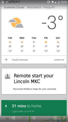 The Lincoln Motor Company, through its MyLincoln Mobile(TM) app, is the first automotive brand to launch an available seamless integration with Google Now, offering a new notification opportunity for Android smartphone users to remotely start their vehicle. (Photo: Business Wire)